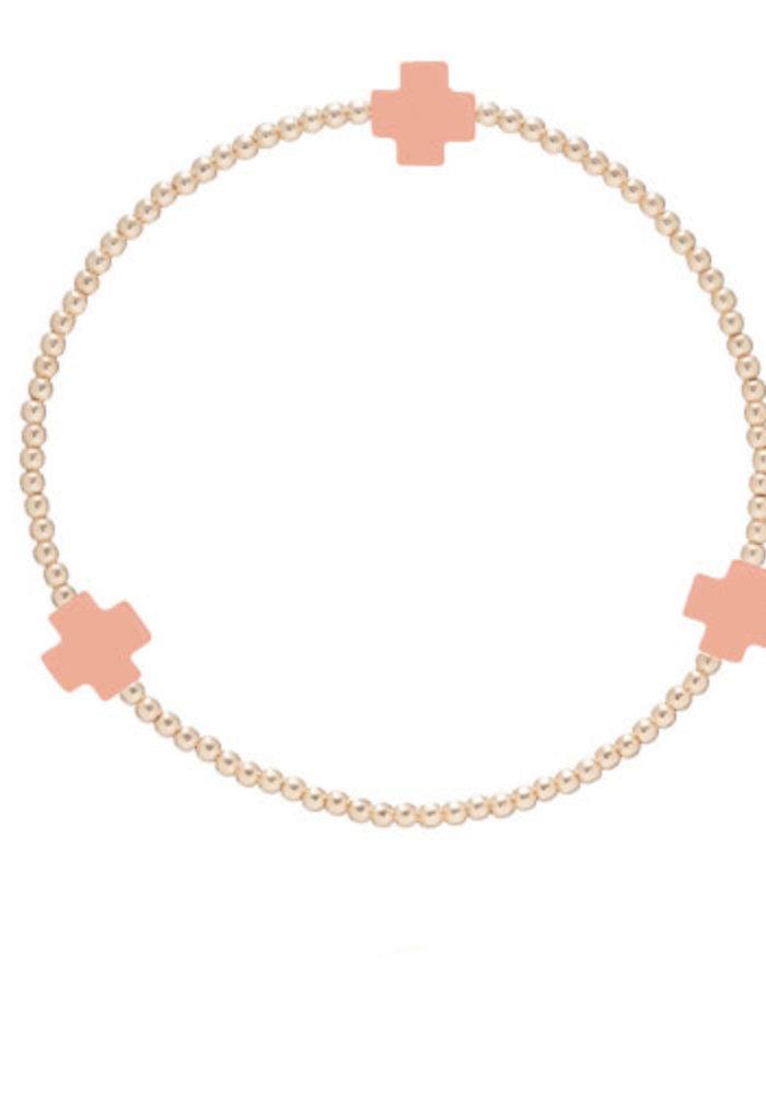 EN Signature Cross Gold Pattern 2mm Bracelet - Coral