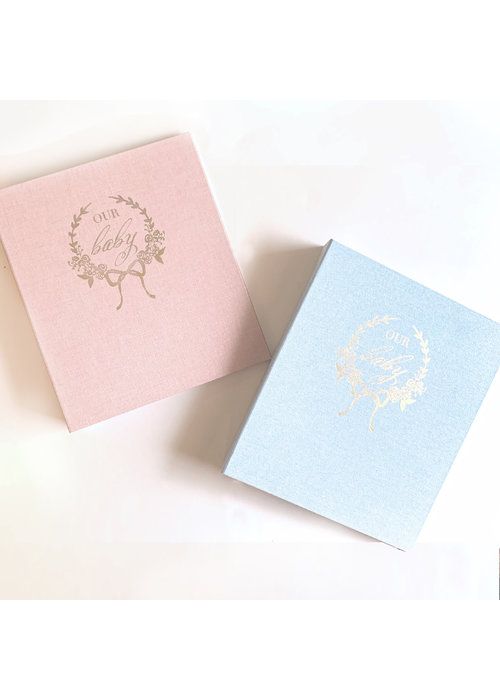 Over the Moon Watercolor Baby Book- Pink
