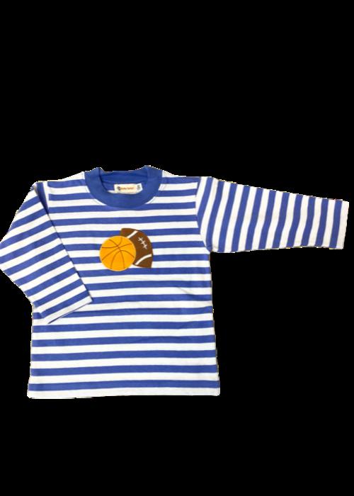 Baby Luigi Boys L/S Stripe T-Shirt Dk Chambray w/Basketball&Football