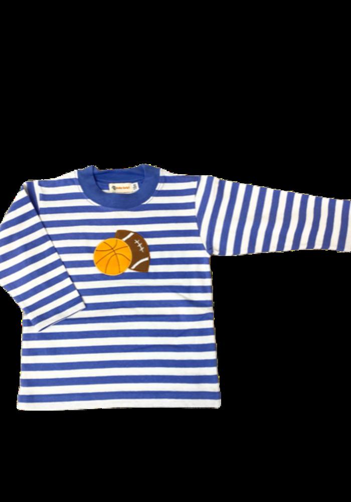 Boys L/S Stripe T-Shirt Dk Chambray w/Basketball&Football