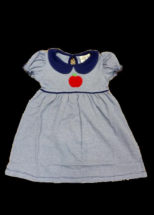 Baby Luigi Girls Dress Dk Royal White Stripe w/Apple