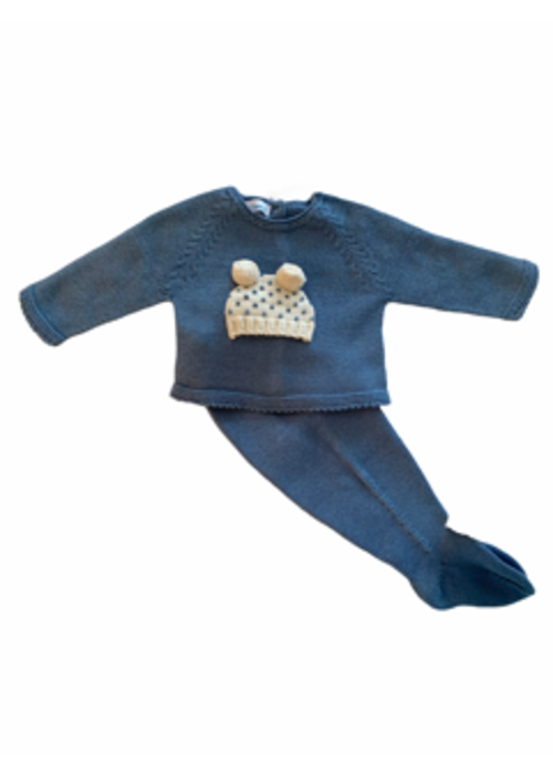 mi lucero Blue Hat Applique Sweater and Pant Set