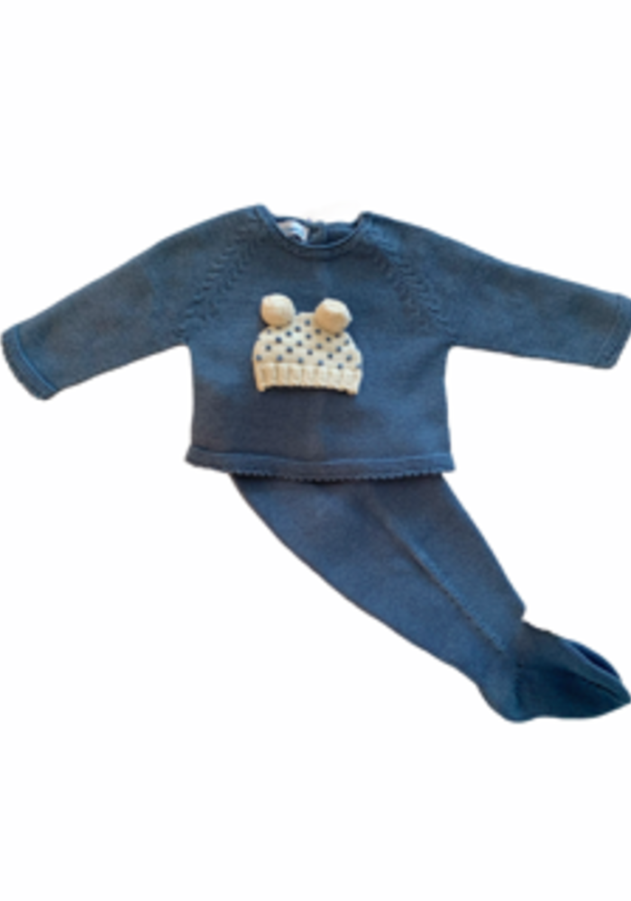 Blue Hat Applique Sweater and Pant Set