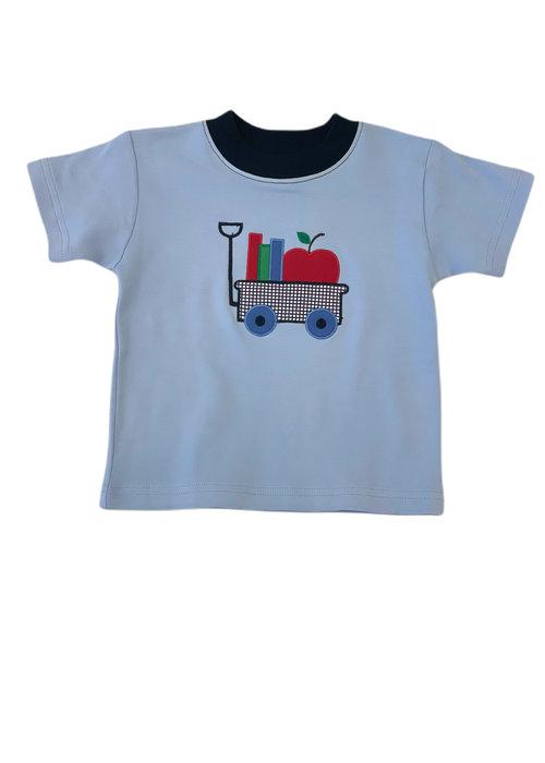 Baby Luigi Boys S/S T-shirt w/Apple & Books Sky Blue/Navy