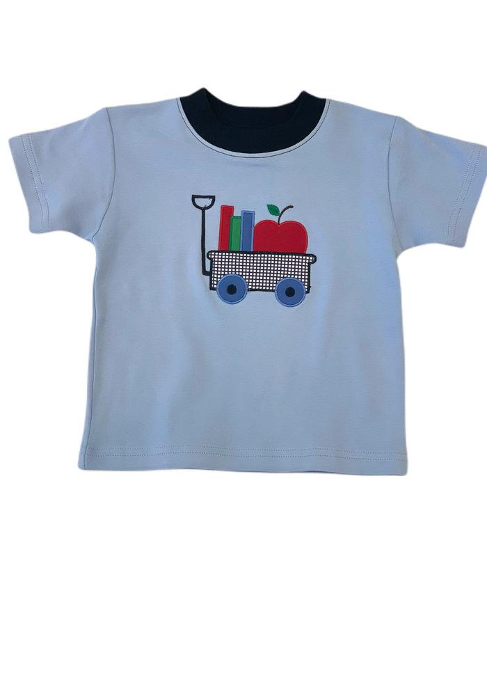 Boys S/S T-shirt w/Apple & Books Sky Blue/Navy