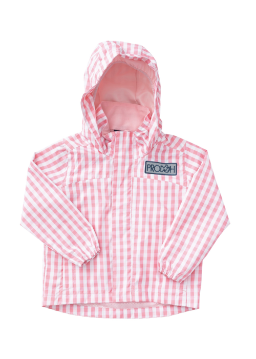 Prodoh Prodoh Girls Water/Wind Reflective Jacket Flamingo Pk Gingham