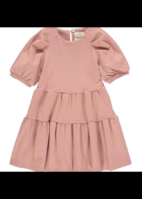 Vignette Vignette Alice Tiered Short Sleeve Dress in Rose