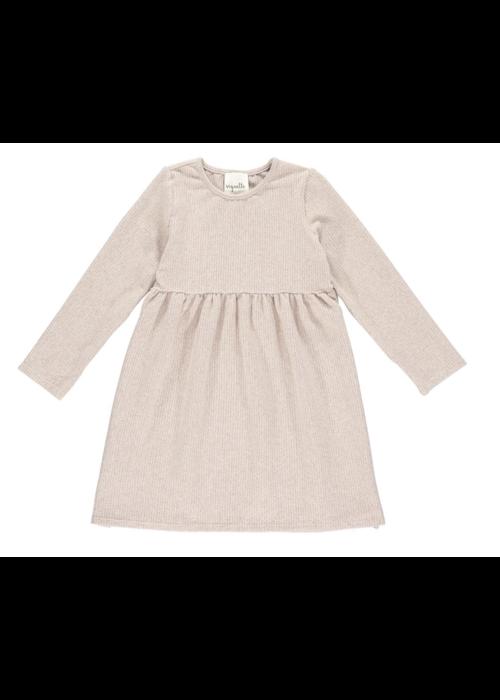 Vignette Vignette Madigan Ribbed Dress w/Side Buttons in Tan