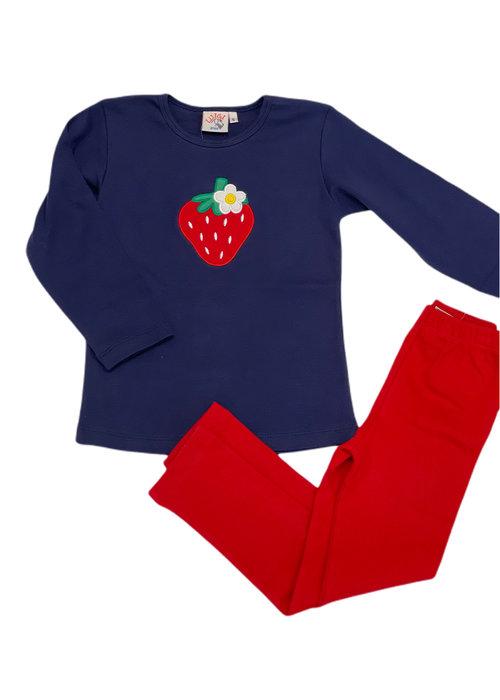 Baby Luigi Navy Long Sleeve Strawberry Top