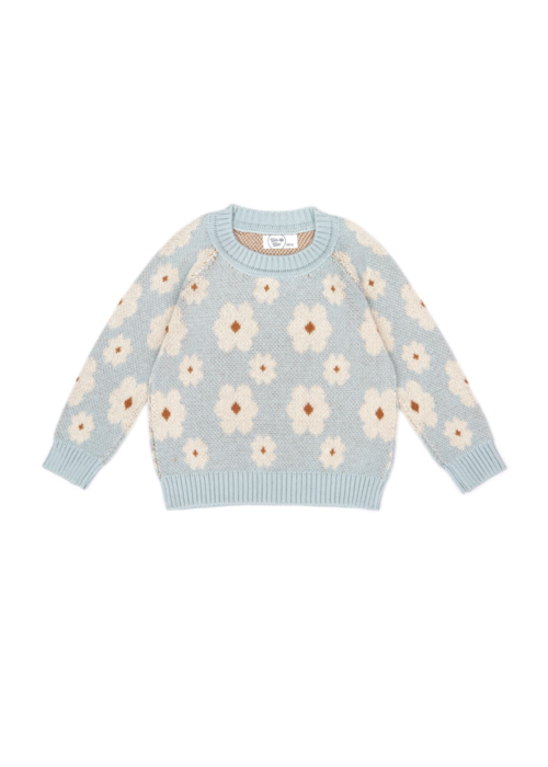 Tun Tun Tun Tun Flower Sweater in Sky Blue