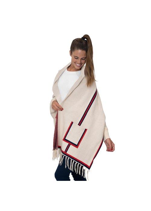 Sleeved Wrap Cream Stripe