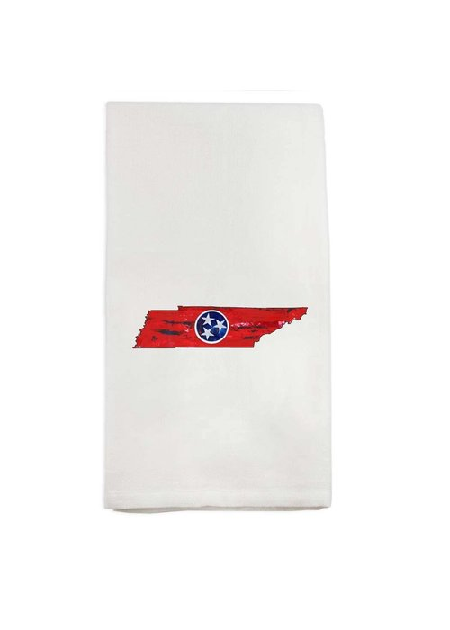 TN State Outline With Flag Tea Towel