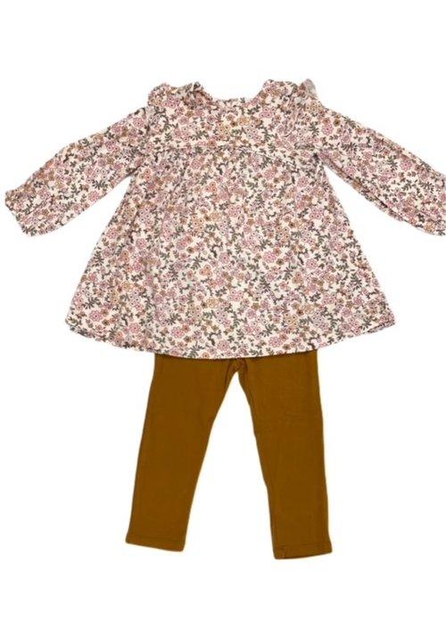 Angel Dear Angel Dear Vintage Calico Ruffle Dress & Legging in Pink