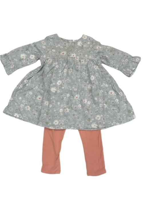 Angel Dear Angel Dear Sweet Daisies Bell Sleeve Dress w/Bamboo Legging Grey