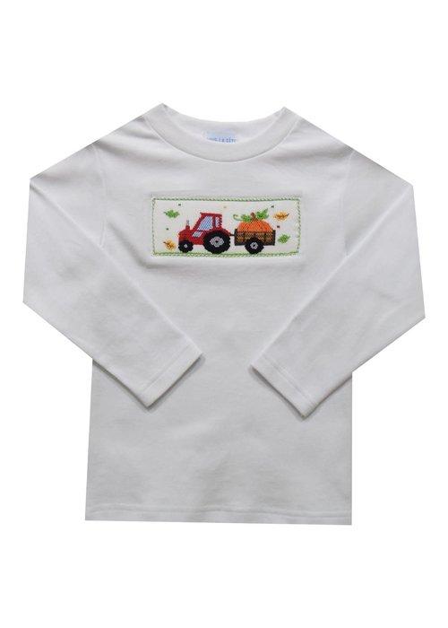 Vive la Fete Tractor Pumpkin Smocked Long Sleeve Tee