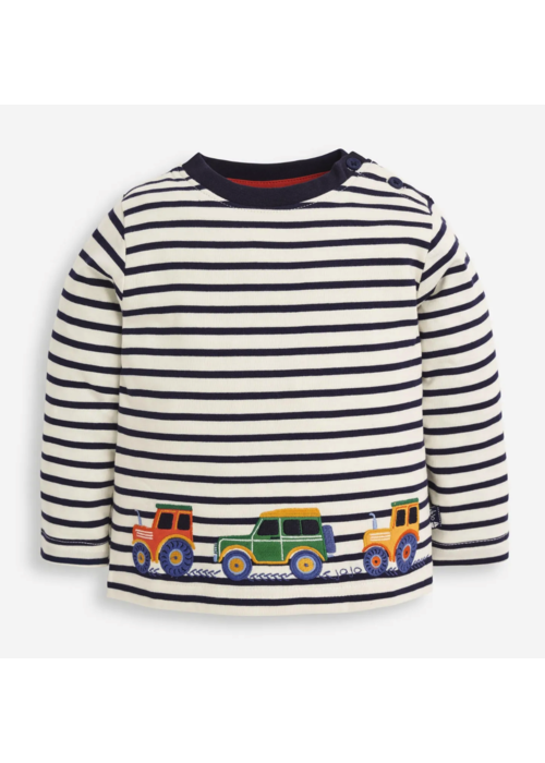 Jojo Maman Bebe' Tractor Top-Navy Stripe