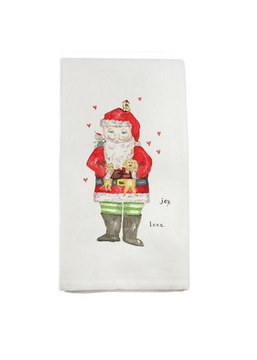 Santa with Animals Tea Towel