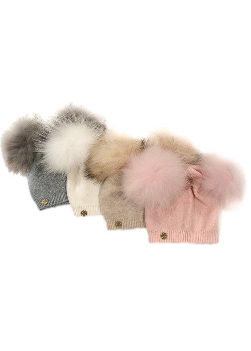 Petit Maison Nikita Double Pom Pink Hat 2-9Y