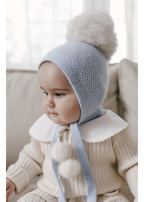 Petit Maison Honeycomb Blue Cashmere Bonnet 6M-2Y