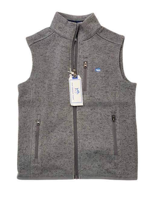 Southern Tide Samson Peak Sweater Fleece Vest- Heather Gunmetal