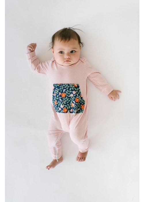 Thimble Collection Bamboo Zipper Romper-Poppy
