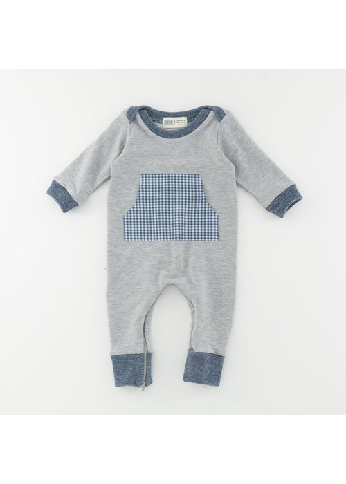 Thimble Collection Bamboo Zipper Romper_Heather Gray