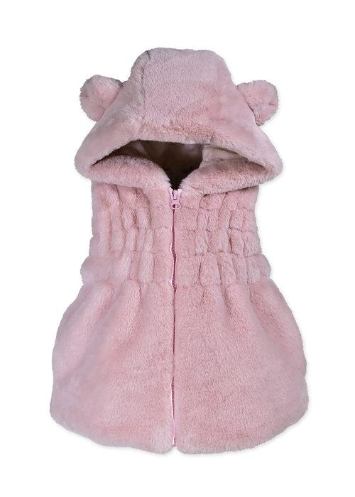 Widgeon Ruched Pink Hoodie Vest