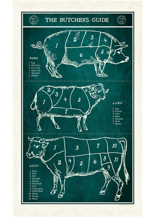 CP Butcher's Guide Tea Towel