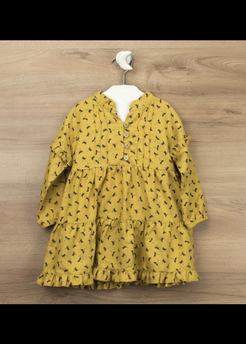 Babidu Babidu Mustard Tiered Ruffle Dress