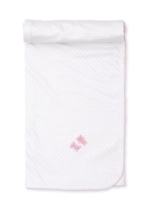 Kissy Kissy KK Bear Hugs Blanket w/ hand emb pink