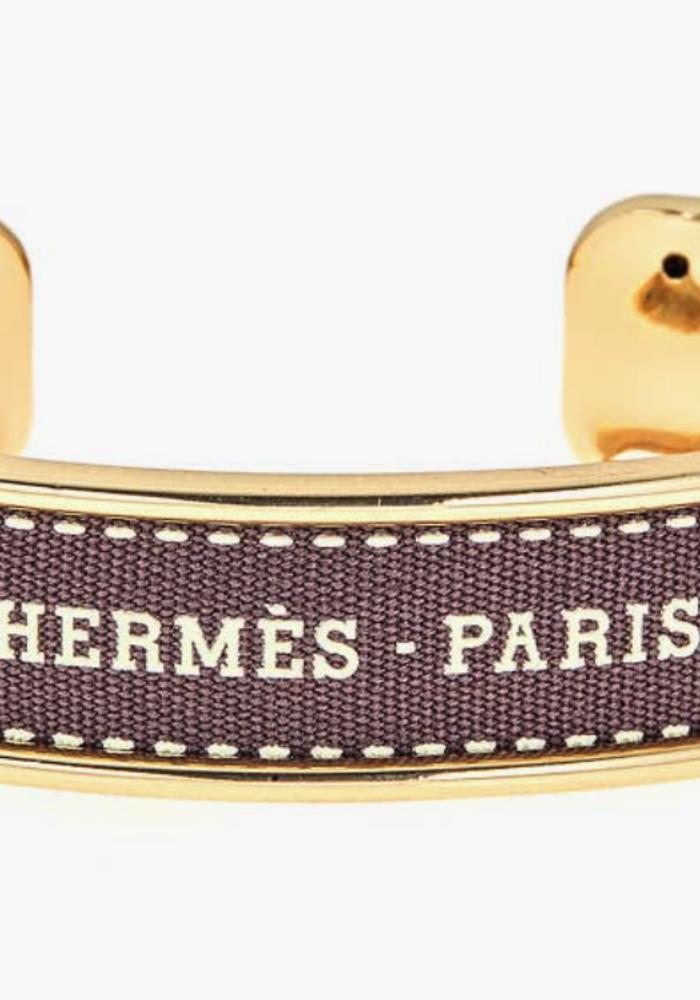 FN Hermes Ribbon Cuff- Gold/Brown- White