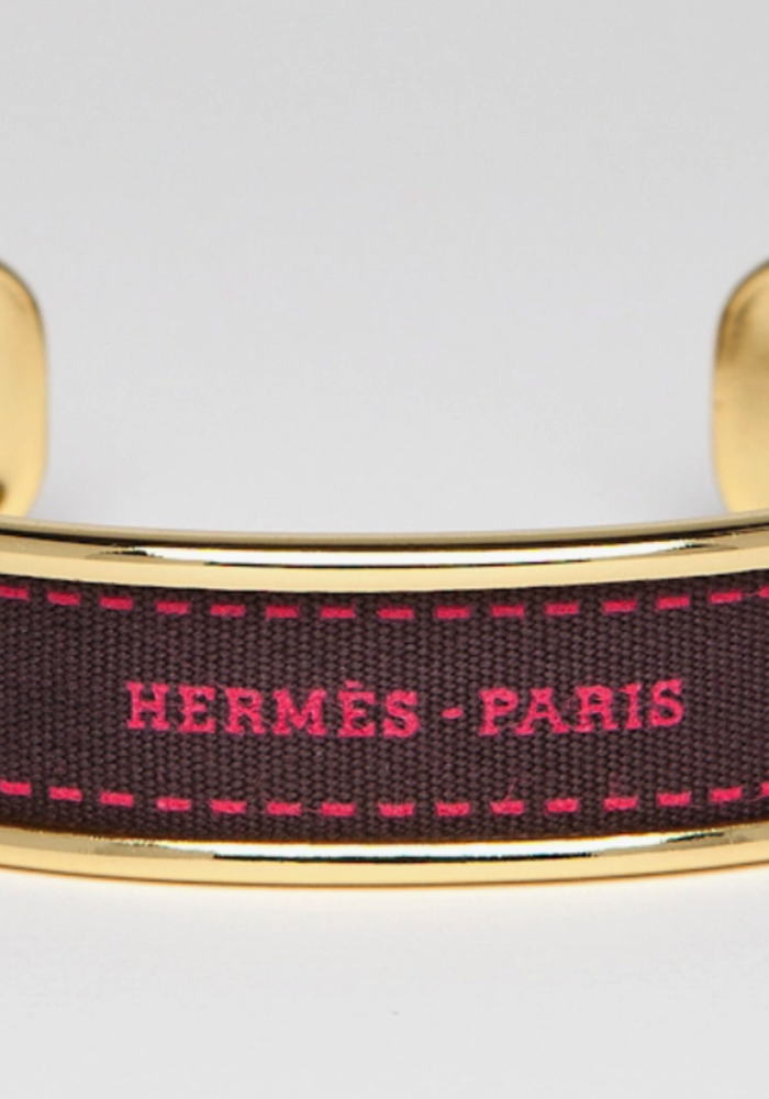 FN Hermes Ribbon- Gold Cuff / Brown-Pink