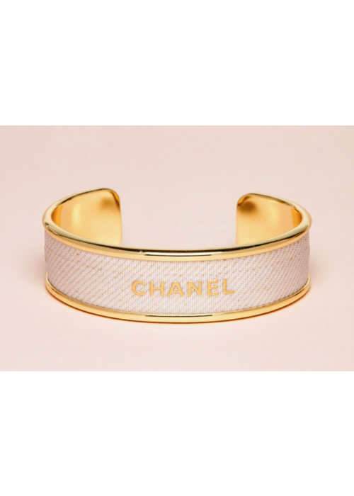 FN Chanel Ribbon Cuff- Gold/Ivory with Gold Flakes