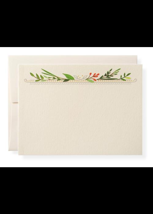 Karen Adams Set of 10 Cards & Envelopes Holly Berry