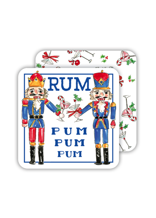Handpainted Nutcracker with Cocktails Coaster Set