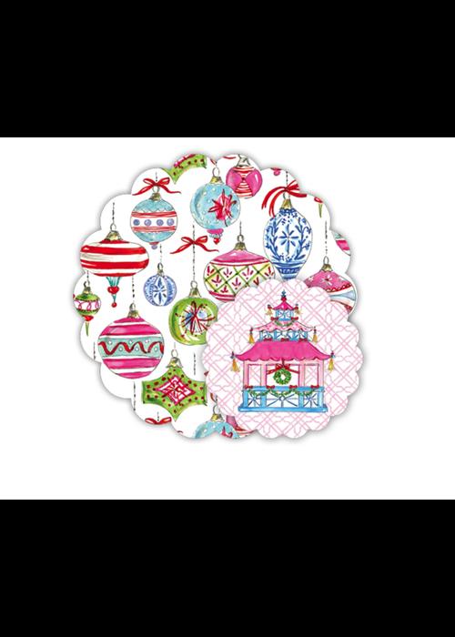 Pink Holiday Pagoda Doily Set