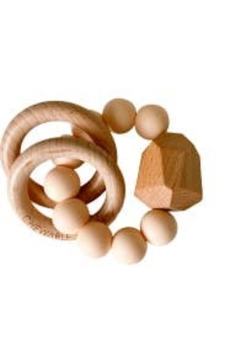 CC Hayes Silicone + Wood Teether - Creamsicle