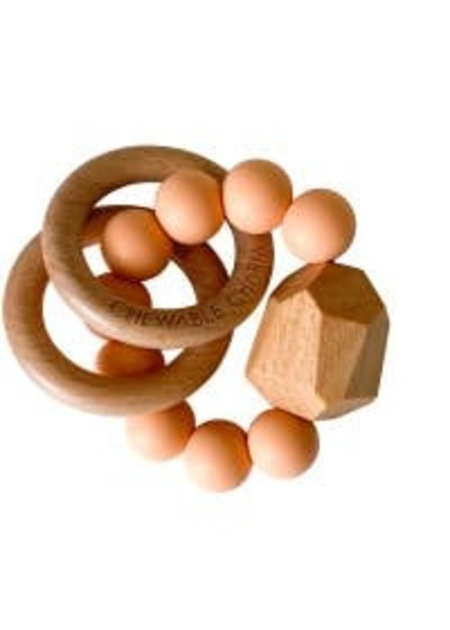 CC Hayes Silicone + Wood Teether - Peach
