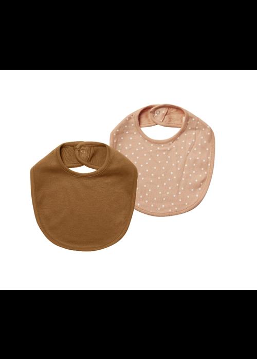 Quincy Mae QM Jersey Snap Bib Set- Petal Dots + Walnut