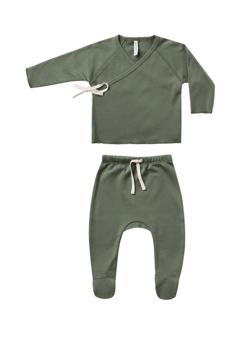 Quincy Mae QM Wrap Top and Pant Set- Basil