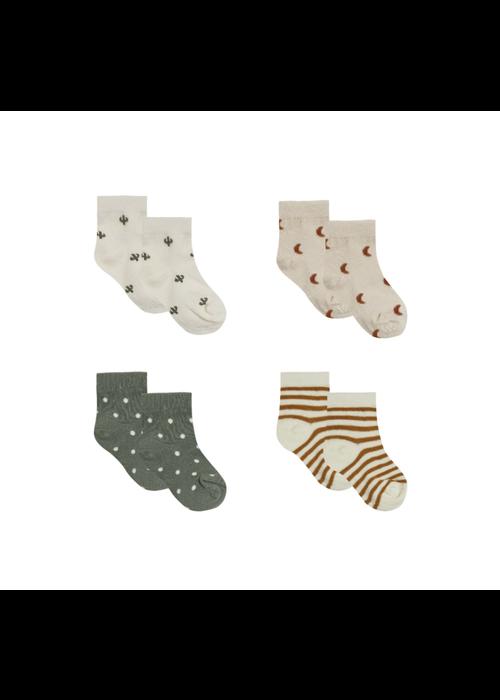 Quincy Mae QM Printed Sock Set- Walnut, Ivory, Natural, Basil
