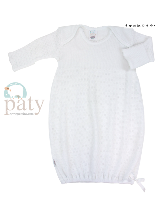 Paty Paty Lap Shoulder NB Day Gown-White