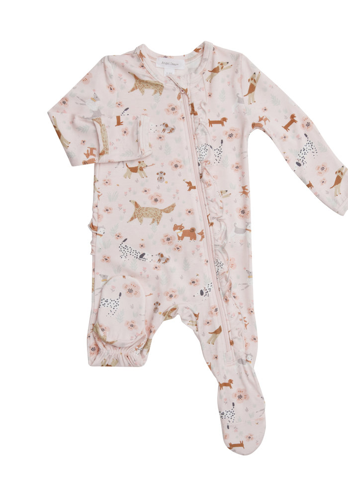 AD Floral Pups Ruffle Front Zipper Footie Pink