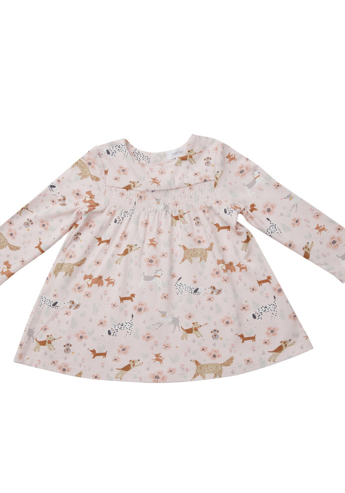 AD Floral Pups Smocked Top and Legging Pink