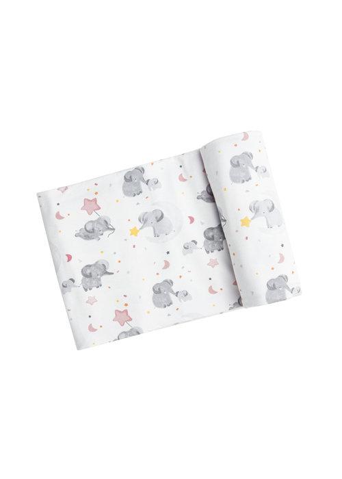 Angel Dear AD Elephants Swaddle Blanket White 45x45 (Pink)