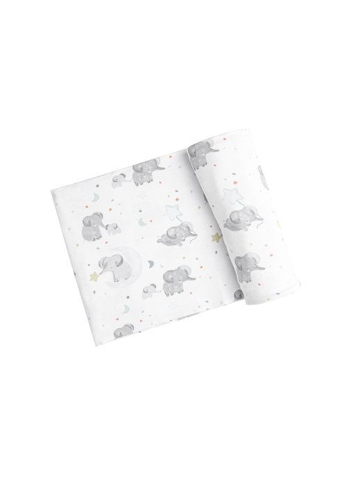 Angel Dear AD Elephants Swaddle Blanket White 45x45 (Blue)