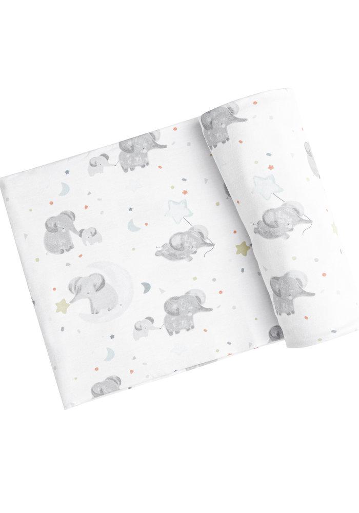 AD Elephants Swaddle Blanket White 45x45 (Blue)