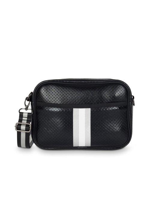 Haute Shore HS Drew Crossbody Bag Uptown- Black Coated/Silver White Silver Stripe