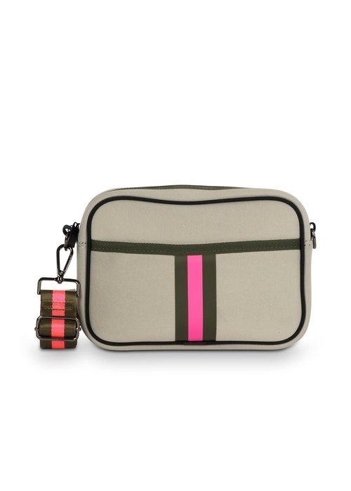 Haute Shore HS Drew Crossbody- Swank-Non Perforated Putty Neoprene w/ Army Hot Pink Stripe