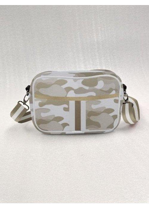Haute Shore HS Drew Crossbody Bag-SAHARA- Beige Camo/White & Rosegold Stripe